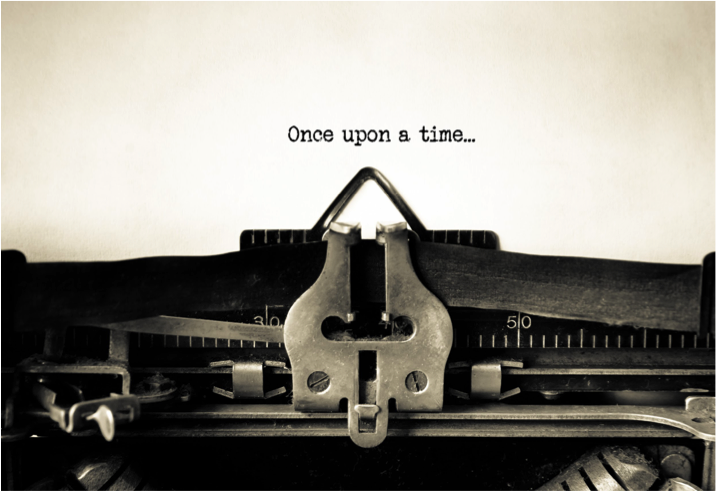 "piece of paper in a manual typewriter with the words ""Once upon a time"" tired onto the paper"