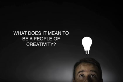 PICTURE Of a man with lightbulb above his head and the question what does it mean to be a people of creativity?
