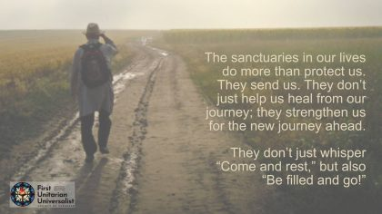 man walking down dirt road with text about sanctuary