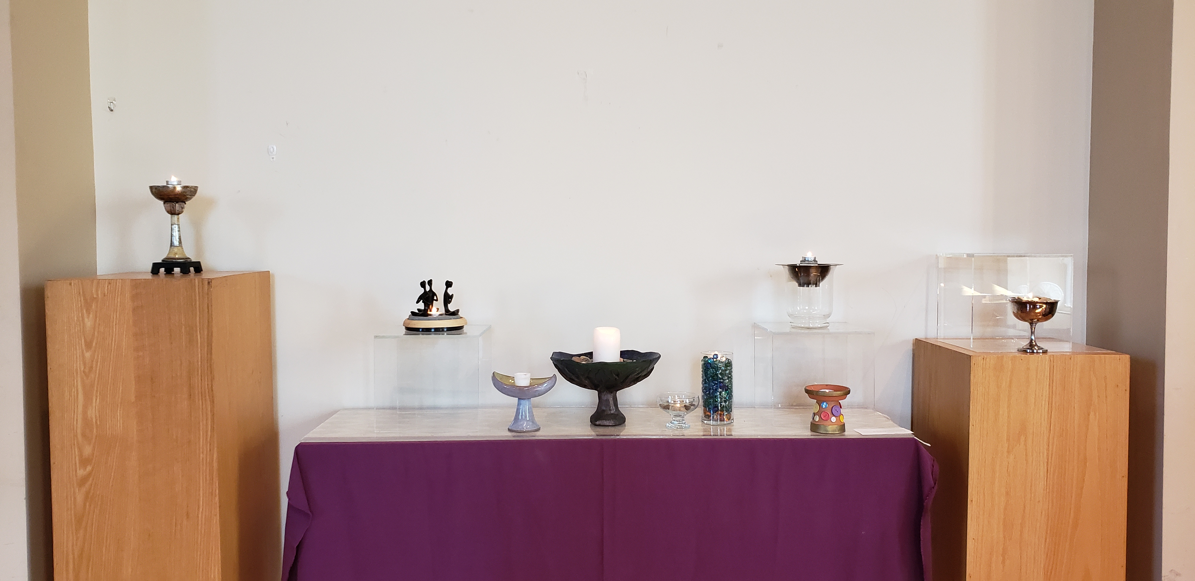 Image of various chalices on our alter