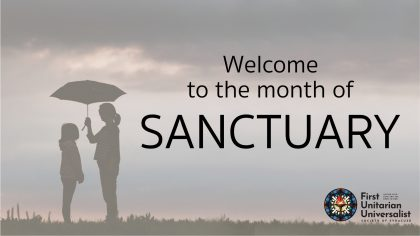 picture of person with umbrella and words welcome to the month of sanctuary