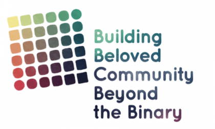 multi colored array of squares with world Building Beloved Community Beyond the Binary